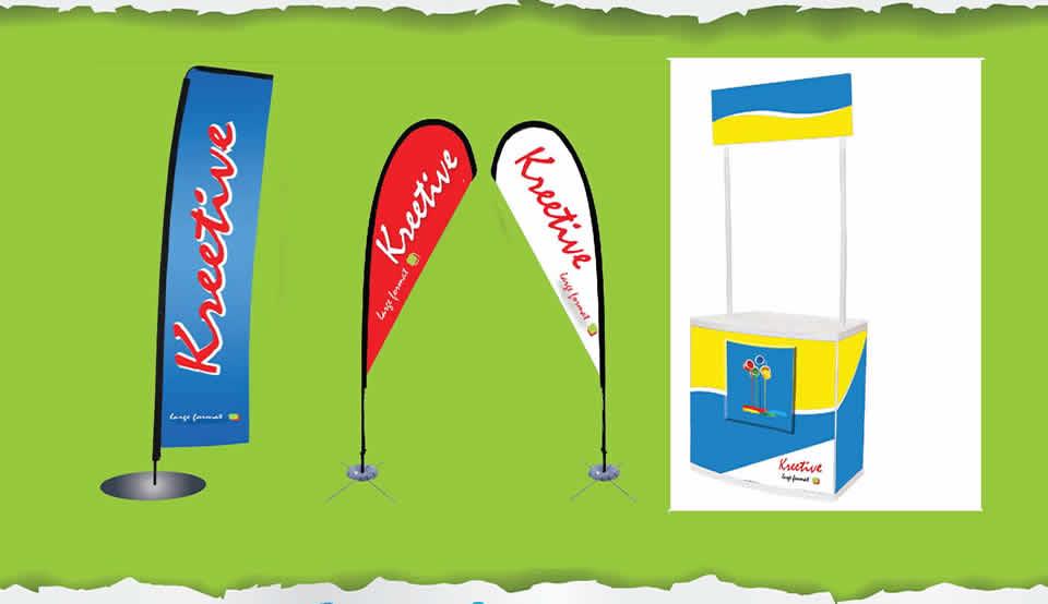 Flying & tear drop banners | Point of sale Kiosk